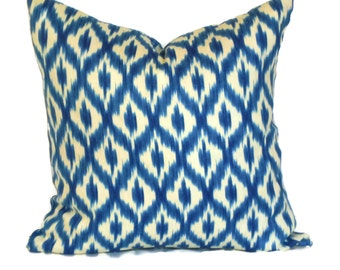 Waverly Diamond Ikat, Pillow Cover Decorative Pillow Accent Pillow 18x18 20x20 22x22 or 14x20 Lumbar Pillow Blue & Cream