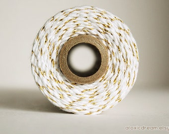 Gold and White Stripes Twine - 50 yds - by Divine Twine