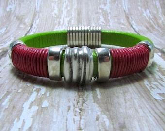 Lime Green Regaliz Leather Bracelet, Pink Bracelet, Green Leather Bracelet, Regaliz Bracelet, Wrapped Bracelet,  Greek Leather Bracelet