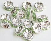 20 Peridot green rhinestone rondelle spacer beads 8mm DB08995