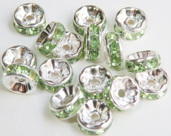 20 Peridot green rhinestone rondelle spacer beads 8mm DB08995
