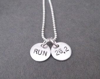 RUN 26.2 Sterling Silver 2 Disc Marathon Necklace - 16, 18, 20 inch Sterling Silver Ball Chain - Marathon Running Jewelry - Marathon Runner