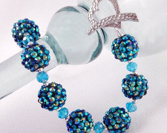 Teal Rhinestone Ball Necklace - Blue Rondelle Beads - Silver Heart Toggle Clasp - Gifts Under 25
