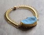 Blue Druzy Bracelet - Gold Spine Chain Bracelet - Blue Gold Statement Bracelet - Druzy Jewelry - Chunky Stone Bracelet