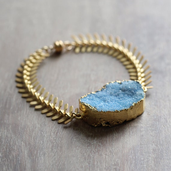 Blue Druzy Bracelet - Druzy Statement Bracelet
