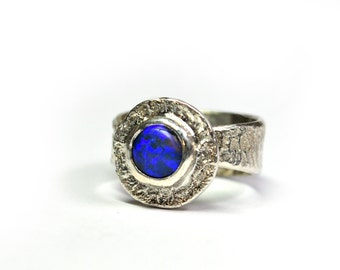 Black Opal Reticulated Ring Sterling Silver Blue - Size 5