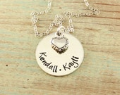 Mommy jewelry, Personalized hand stamped sterling silver necklace, Mom necklace with sterling silver heart charm