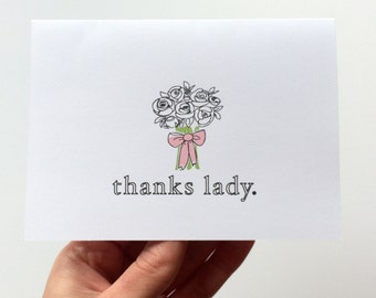 Thank You Bridesmaid Card / Greeting Card, Bridal Party, Flower Girl, Wedding Party, Baby Shower, Bridal Shower
