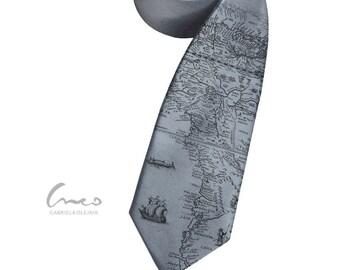 Retro map tie. Print on narrow necktie