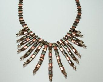605-Nancy Las Vegas Bronze & Copper Glass Fringe Necklace-Beadwoven-Handmade-Artisan