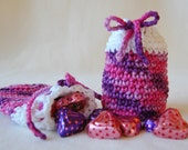 Crochet Drawstring Pouch Treat Bag - Pink, Purple, White - Valentine's Day