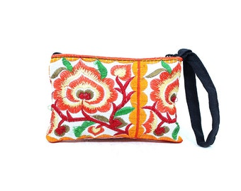Small Coin Pouch Purse Flower Embroidered Hill Tribe Fabric Handmade Thailand (BG290W-WOF)