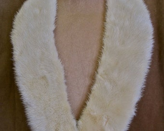 "White Mink Collar: Vintage 50s Cream Color Genuine Mink 32"" Long Collar No Lining for Sweater Dress Jacket Repurpose Sewing Project"