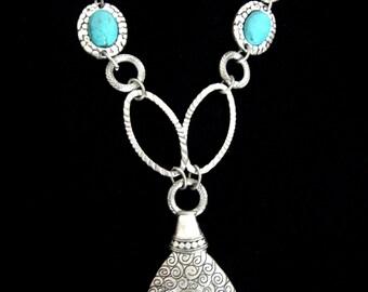Afgan metal necklace turqouise / Metal chain necklace fringed/Turqouise,silver tone metal