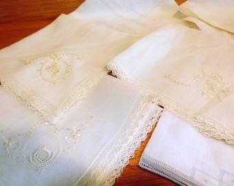 Instant collection of Vintage handkerchiefs, One dozen hankies, wedding, lace, embroidered, crochet, thread work, white, yellow and ecru