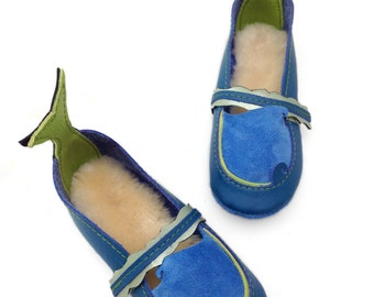 Mermaid Shoes. Baby shoes.  Soft soled leather shoes. Toddler shoes. Ocean blue and green
