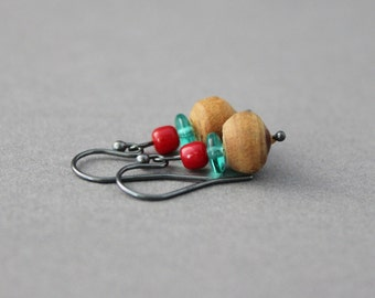 sandalwood and coral earrings pink coral and turquoise earrings wooden beaded boho style