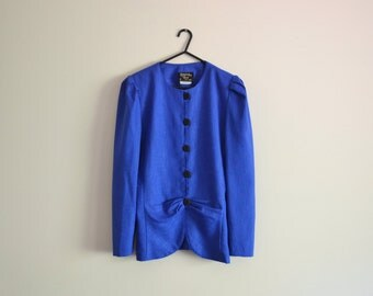 Blue Blazer/ Blouse - 80s, jacket, small puff sleeves, royal blue, navy, top, medium