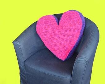 Heart Pillow Crochet Pattern, Large Heart Amigurumi Pattern, Valentine's Day Heart Cushion, Shaped Heart Pillow Crochet Pattern