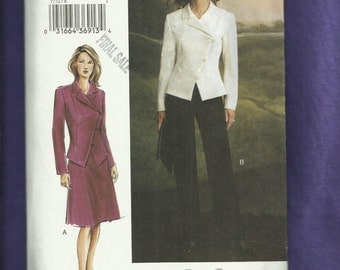 """Vogue 7772  Angled Double Breasted Notch Collar Jacket Pants & """"A"""" Line Skirt Sizes 8.10.12 UNCUT"""