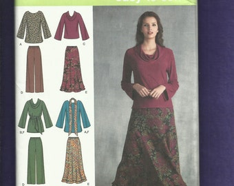 Simplicity 3568 Boho  Cowl or Scoop Neck Shirts Belt Flared Skirt & Pants Sizes 10 to 18 UNCUT