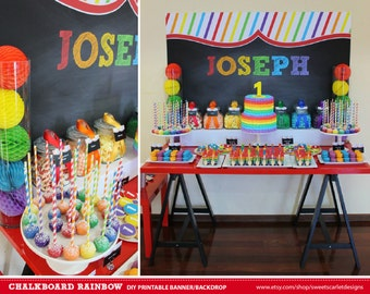RAINBOW Backdrop Printable Banner - Chalkboard Style for Birthday Party - Print Your Own