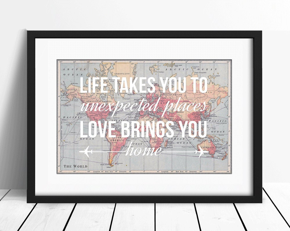 World Map Print Travel Poster Map Quote Wanderlust Poster