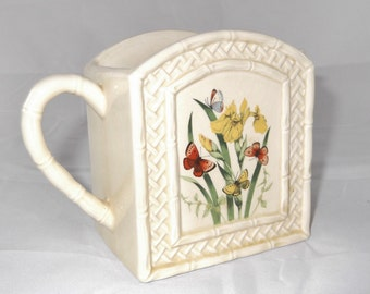 Vintage Pitcher Creamer Butterfly Garden Trellis Ceramic Ware by Enesco 1978