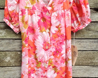 1950's Gorgeous Handmade Pink Floral Puff Sleeve Tie Back Blouse