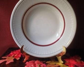 Vintage Used Vintage Sterling China Restaurant Soup Bowl with Gold and Burgundy Trim