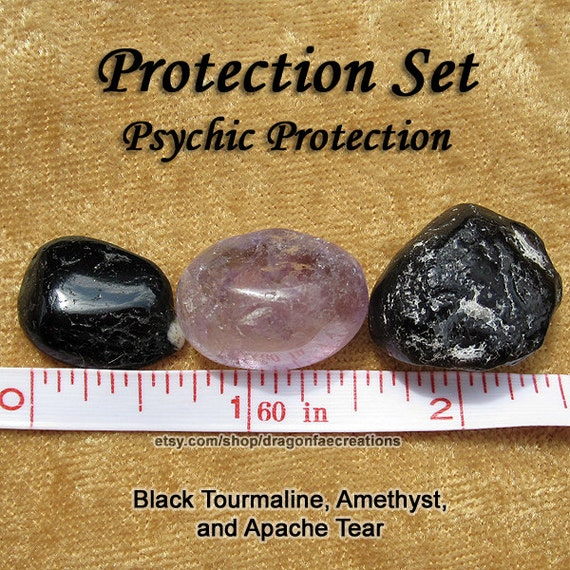 Psychic Protection Crystal Healing Set Amethyst Apache