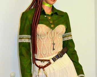 Cropped Steampunk jacket, Moss Green short jacket