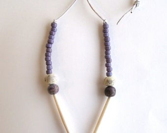 Beaded necklace long bone beads lavender Native American glass beads cream and purple stone beads on silver leather cord minimalist design