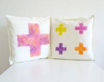 """2 Scandinavian summer bright cross throw pillows . Hand painted cotton. 20"""" x 20"""""""