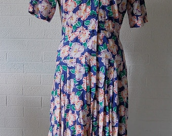1980 Liz Clairborne Floral Sun Dress with Full Shirt 6