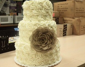Burlap rose flower wedding cake topper/decor. other colors available.