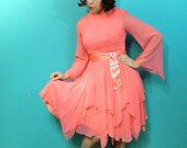 SALE Vintage chiffon party dress . coral Sherbert pink Pixie cascading ruffles scarf hem . sheer angel sleeves