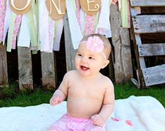 Vintage Style Lace flower Stretchy Soft Headband, Pearl center, Headband Newborn Infant Toddler Girls,