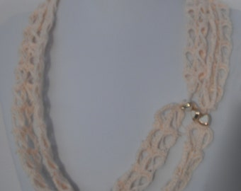 Crocheted Broomstick Lace Pattern, Cream Colored multiple style Necklace