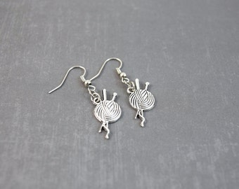 Knitting Earrings - Yarn Earrings - Knitting Jewelry - Handmade Jewelry - Knit Jewelry - Tibetan Silver Earrings - Knit