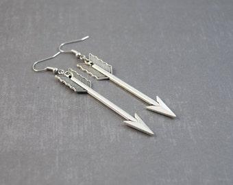 Silver Arrow Earrings - Arrow Jewelry - Handmade Jewelry - Dangle Earrings - Archery Earrings - Tribal Earrings - Chunky Earrings