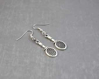 Tennis Earrings - Tennis Jewelry - Sports Earrings - Sports Jewelry - Tennis Racket - Tennis Player - Gift for Tennis Lover