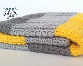 Crochet Gray Yellow Baby Blanket MADE TO ORDER Stroller size