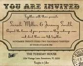 Vintage Wedding Invitation and RSVP Template Set