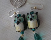 Tiny Blue Eyed Owl drops Lampwork Glass with Sterling French Earwires w/Goldfil. Balls