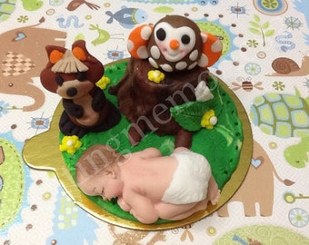 FONDANT FOREST BABY Topper - edible forest cake topper with tree stump and friends. Great for baby showers, first birthday and more.