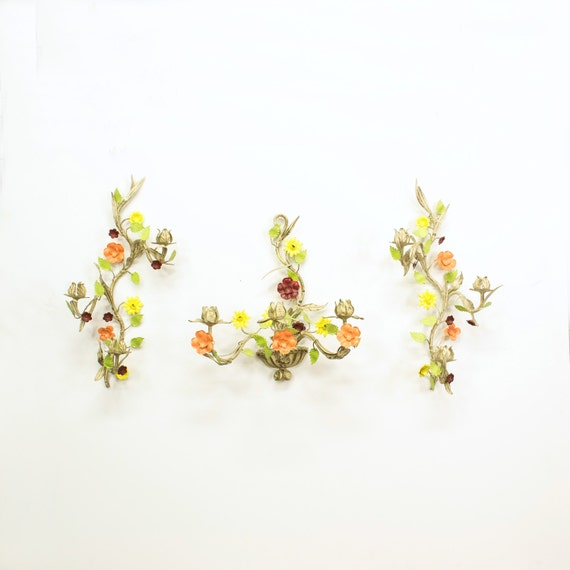 Wall Sconces With Flowers: Italian Toleware Wall Sconce Set Metal Tole Flowers Wall
