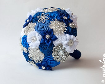 SALE!!! Brooch Bouquet. Blue White Fabric Bouquet, Unique Wedding Bridal Bouquet