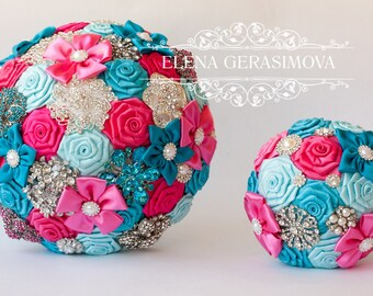 Wedding Toss bouquet, turquoise hot pink bouquet, Wedding Accessories, Wedding set.