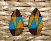 Teardrop Stud Fabric Covered Wood Earrings - Kente